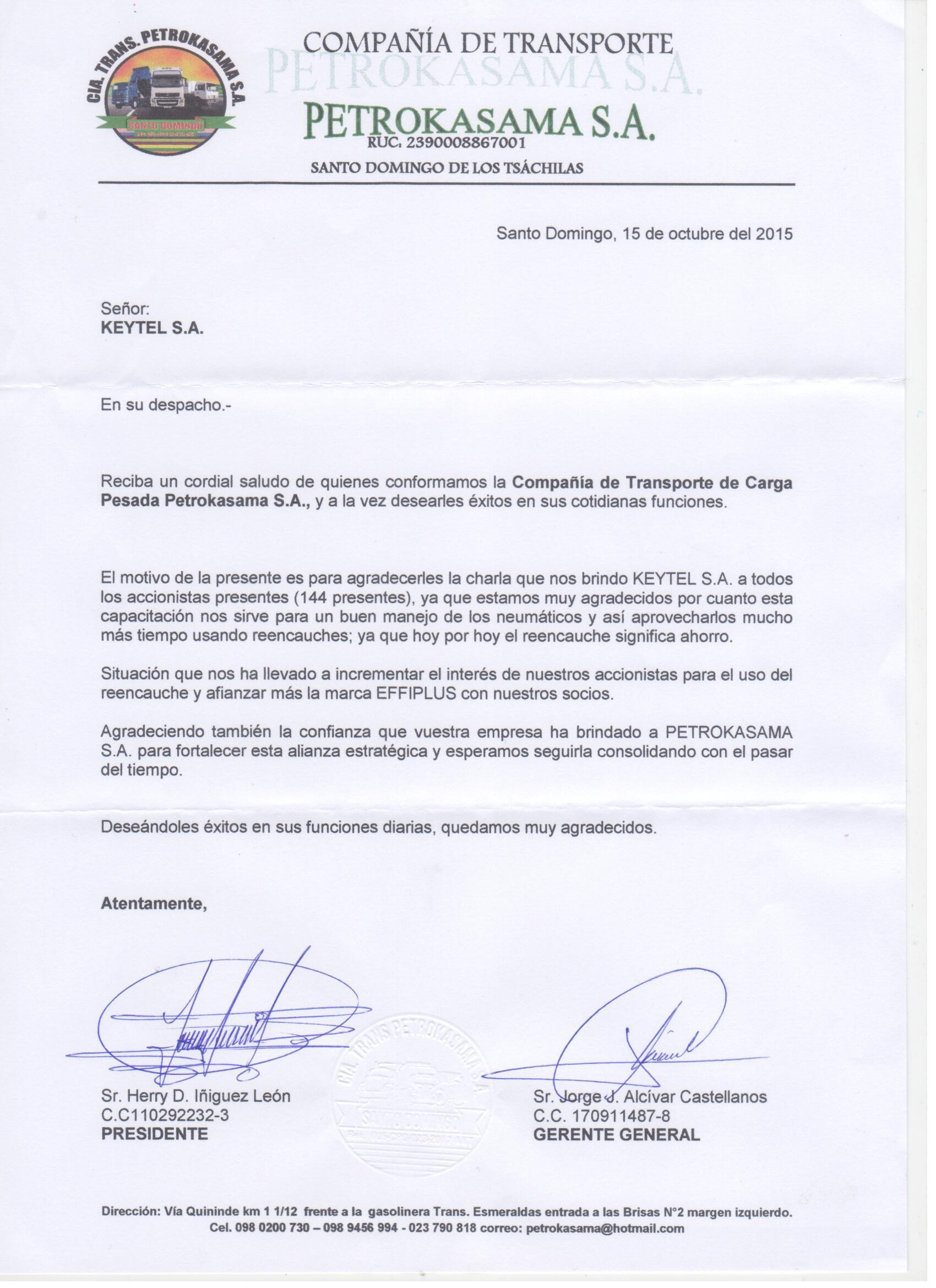 Thanks Letter from Effiplus Partner in Ecuador
